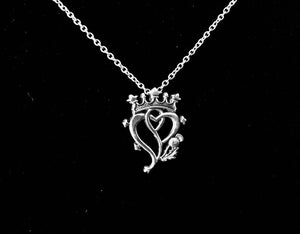 Large Handcast 925 Sterling Silver Scottish Luckenbooth Thistle Heart Pendant + Free Chain