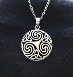 Large Handcast 925 Sterling Silver Celtic Triskele Triple Spiral Triskelion Pendant Necklace + Free Chain