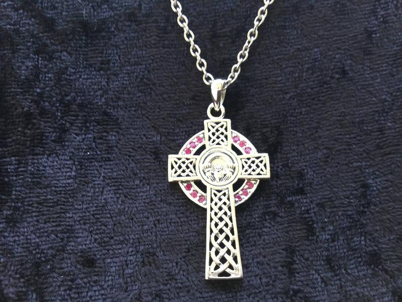 Handcast 925 Sterling Silver Irish Celtic Claddagh Claddaugh Cross Pendant Ruby CZ Necklace Free Chain