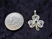 Handcast 925 Sterling Silver Lucky Shamrock 3-Leaf Clover Emerald Green CZ Pendant Necklace + Free Chain