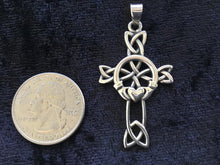 Handcast Large 925 Sterling Silver Unisex Irish Celtic Claddagh Claddaugh Cross Pendant Necklace Free Chain