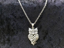 Handcast 925 Sterling Silver Celtic Owl Pendant Necklace + Free Chain