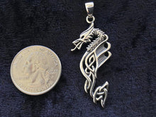 Handcast 925 Sterling Silver Celtic Dragon Pendant Necklace + Free Chain