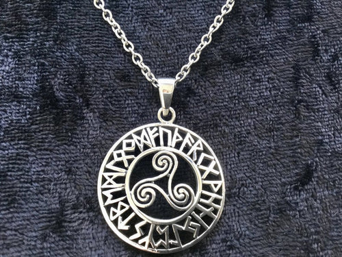 Handcast 925 Sterling Silver Celtic Viking Triskele Triple Spiral Triskelion Pendant Necklace 24 Runes + Free Chain