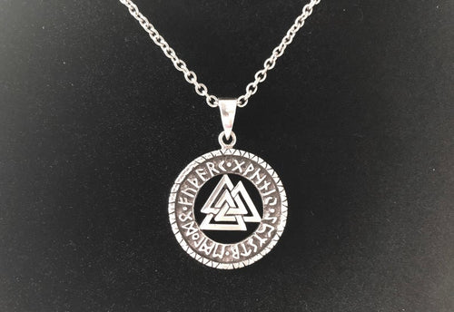 Handcast 925 Sterling Silver Nordic Viking Celtic Valknut Runes Pendant + Free Chain Necklace