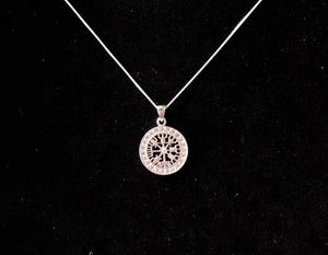 Handcast 925 Sterling Silver Norse Viking Compass Vegvisir Pendant Necklace + Free Chain