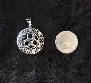Large Handcast 925 Sterling Silver Irish Celtic Triquetra Trinity Knot Pendant + Free Chain
