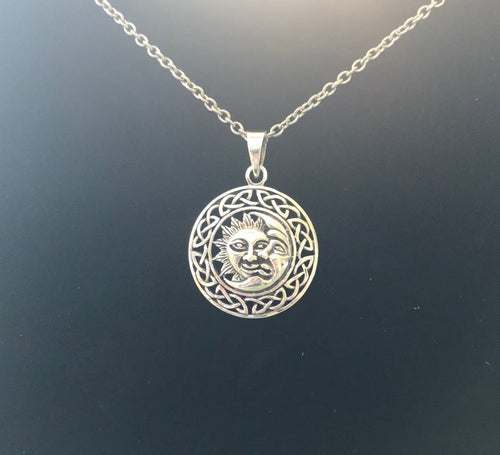 Handcast 925 Sterling Silver Sun Moon Pendant with Celtic Knot Designs + Free Chain Necklace