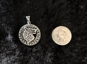 Handcast 925 Sterling Silver Celtic Wolf Pendant accented with Runic Alphabet+ Free Chain Necklace