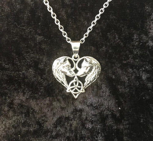 Handcast 925 Sterling Silver Celtic Wolf Heart Pendant accented w/ Celtic Trinity Triquetra Knot + Free Chain Necklace