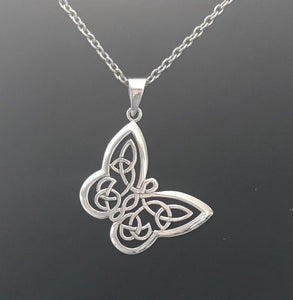 Handcast 925 Sterling Silver Butterfly Pendant with Celtic Knot Designs Necklace + Free Chain