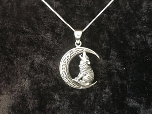 Handcast 925 Sterling Silver Howling Wolf Pendant on Crescent Moon accented with Celtic Knotwork + Free Chain
