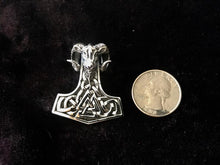 Large Handcast 925 Sterling Silver Norse Viking Ram Ram's Head Thor's Thors Hammer Mjolnir Pendant + Free Chain