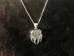 Handcast 925 Sterling Silver Celtic Viking Wolf Claw Paw Pendant with Celtic Knot Designs + Free Chain Necklace