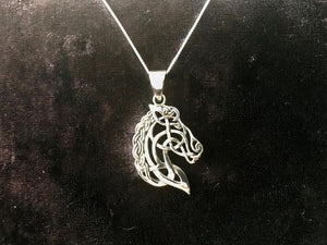Unique Handcast 925 Sterling Silver Irish Celtic Horse Epona Pendant + Free Chain Necklace