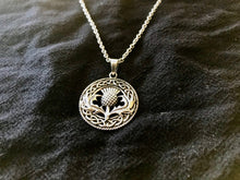 Large Handcast 925 Sterling Silver Scottish Thistle Flower Pendant + Free Chain