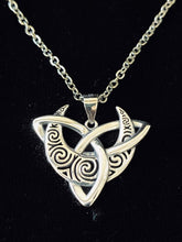 Handcast 925 Sterling Silver Irish Celtic Triquetra Trinity Knot Crescent Moon Pendant + Free Chain Necklace
