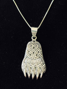Handcast 925 Sterling Silver Celtic Viking Bear Claw Paw Pendant with Celtic Knot Designs + Free Chain Necklace