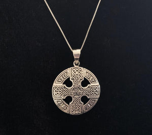 Handcast 925 Sterling Silver Equal Sided Celtic Cross Triskele Triple Spiral Triskelion Pendant Necklace + Free Chain