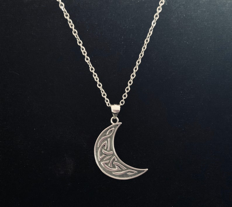 Handcast 925 Sterling Silver Irish Celtic Crescent Moon Pendant + Free Chain Necklace