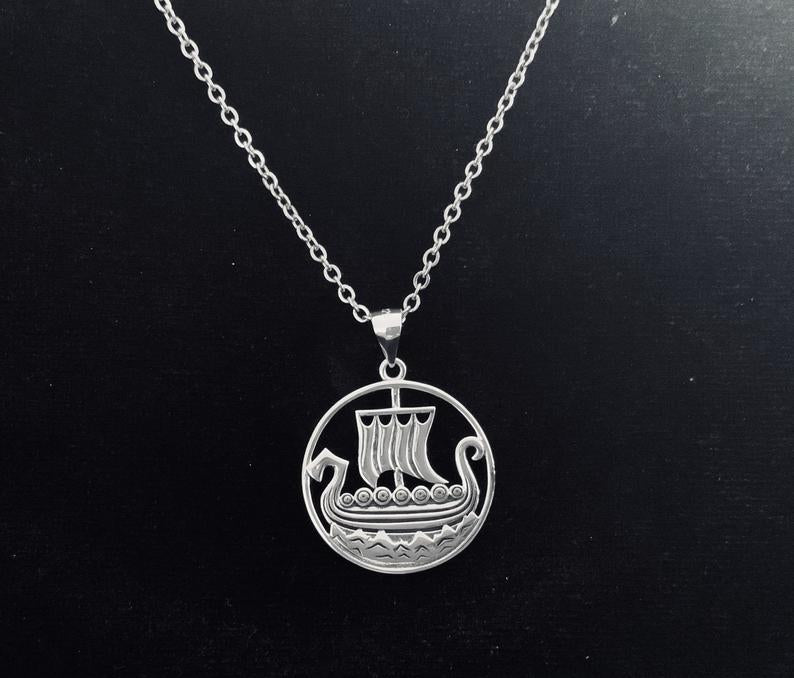 Handcast 925 Sterling Silver Norse Viking Longship Long Ship Longboat Pendant + Free Chain Necklace