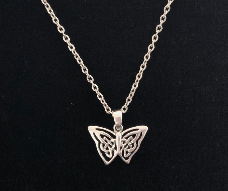 Unique Handcast 925 Sterling Silver Celtic Butterfly Pendant accented with Celtic Knotwork+ Chain