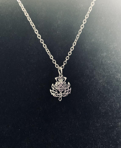 Handcast 925 Sterling Silver Scottish Thistle Flower Pendant + Free Chain