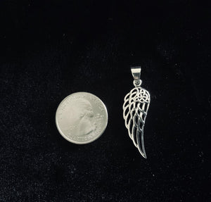 Handcast 925 Sterling Silver Angel Wing Pendant accented with Celtic Triquetra Trinity Knot + Free Chain Necklace