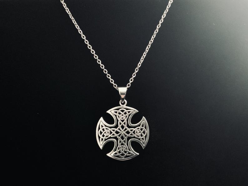 Handcast Sterling Silver Celtic Equal Sided Filigree Cross Pendant FREE Chain