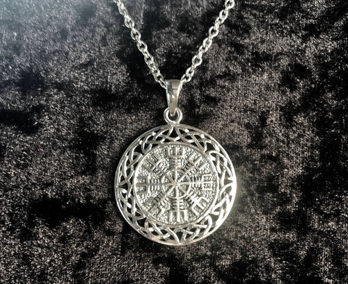 Handcast 925 Sterling Silver Norse Viking Helm of Awe w/ Celtic Weave Pendant Necklace + Free Chain
