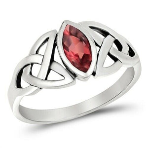 Silver Celtic Trinity / Triquetra Knot Ring Ruby CZ Size 5-10