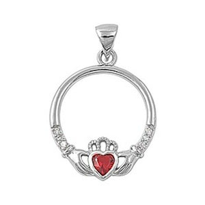 925 Sterling Silver Irish Celtic Claddagh Claddaugh Pendant Red Garnet CZ Necklace Free Chain