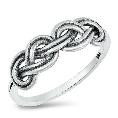 Silver Irish Celtic Double Love Knot Ring Size 4-10