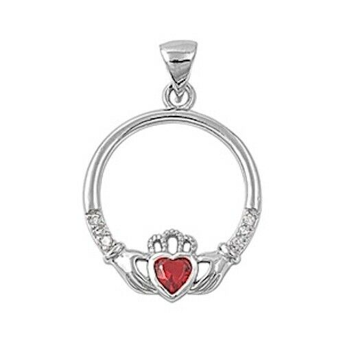 925 Sterling Silver Irish Celtic Claddagh Claddaugh Pendant Red Ruby CZ Necklace Free Chain