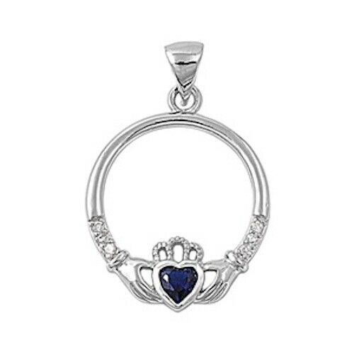925 Sterling Silver Irish Celtic Claddagh Claddaugh Pendant Sapphire Blue CZ Necklace Free Chain