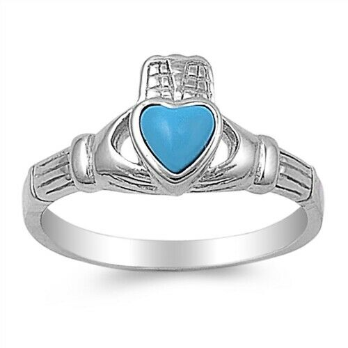 Sterling Silver Irish Claddagh Ring w/ Turquoise Heart Size 4-9