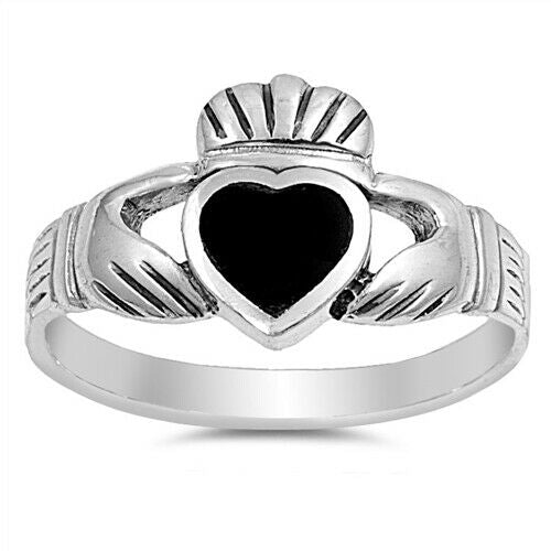 Sterling Silver Irish Claddagh Ring w/ Black Onyx Heart Size 4-13