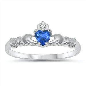Sterling Silver Irish Claddagh Ring Blue Sapphire CZ Heart Size 1-10