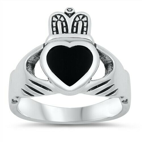 Sterling Silver Men's Irish Claddagh Ring w/ Black Onyx