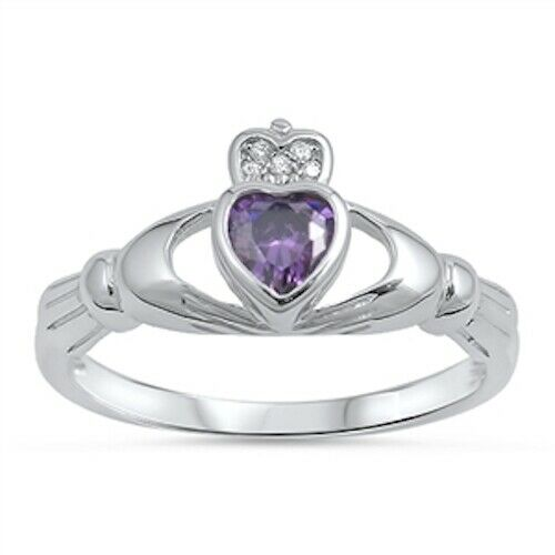 Sterling Silver Irish Claddagh Ring w/ Amethyst CZ Heart Size 4-10