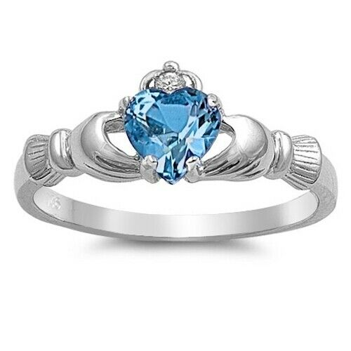Sterling Silver Irish Claddagh Ring w/ Blue Topaz CZ Size 3-13