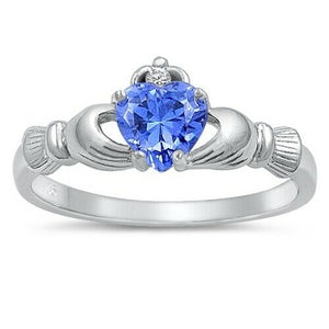 Sterling Silver Irish Claddagh Ring w/ Blue Tanzanite CZ Size 4-12