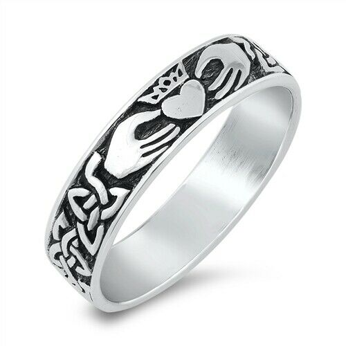 Solid 925 Sterling Silver Irish Celtic Claddagh Ring Band Size 5-10