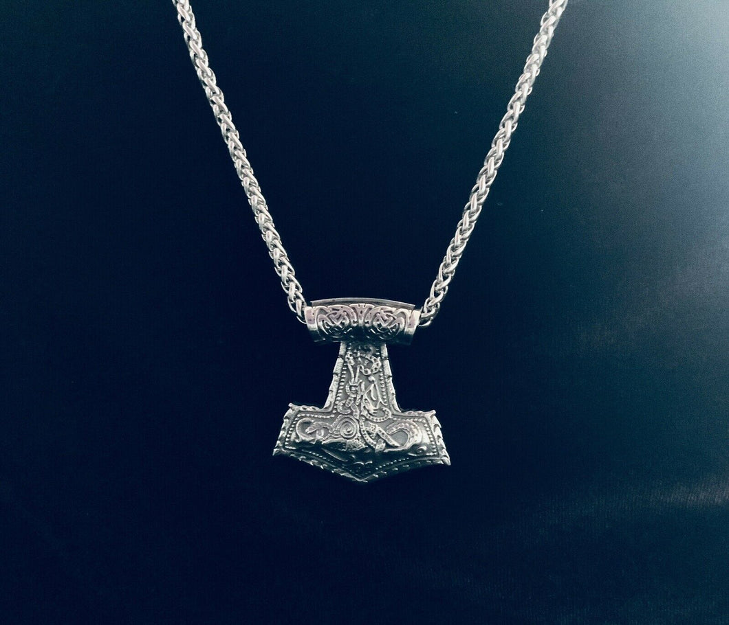Large 316L Stainless Steel Viking Norse THOR's Hammer MJOLNIR Men Pendant CHAIN