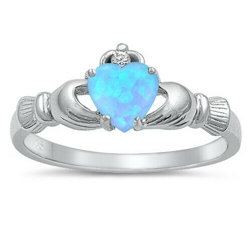 Sterling Silver Irish Claddagh Ring w/ Light Blue Lab Opal Size 4-12