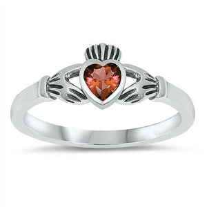 Sterling Silver Irish Claddagh Ring Garnet CZ Heart Size 1-9