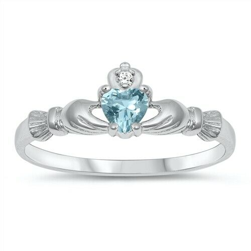 Sterling Silver Irish Claddagh Ring Blue Aquamarine CZ Heart Size 1-9