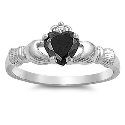 Sterling Silver Irish Claddagh Ring w/ Black CZ Size 3-13