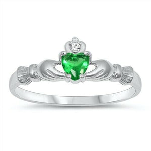 Sterling Silver Irish Claddagh Ring Emerald Green CZ Heart Size 1-10