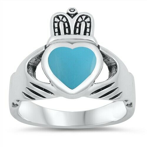 Sterling Silver Men's Irish Claddagh Ring w/ Turquoise